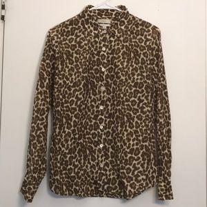 J Crew Perfect Shirt Silk Blend Animal Print